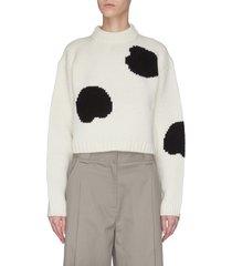 polka dot intarsia cropped sweater