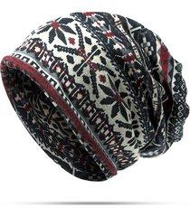 unisex beanie bandana etnico floscio in cotone da tenere caldo a dopppio uso sciarpa ad anello