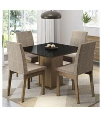 conjunto sala de jantar madesa gaia mesa tampo de vidro com 4 cadeiras rustic/preto/fendi