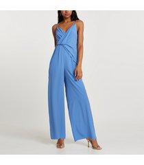 river island womens blue wide leg backless jumpsuit