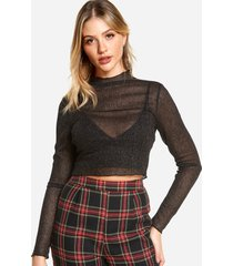 black semi sheer long sleeves crop top