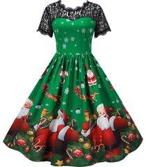 christmas santa claus snowflake elk lace yoke dress