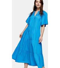 blue poplin smock midi dress - blue