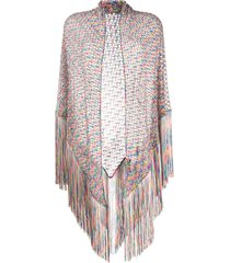 missoni sheer knit fringed shawl - pink