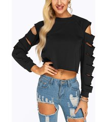 black cut out sleeves crop top