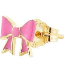 pink enamel bow stud earring