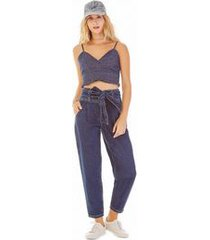 top cropped alca com pregas jeans p