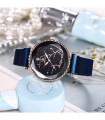 orologio da polso da uomo in acciaio inossidabile con magnete in acciaio al quarzo