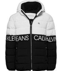 stretch colour block jacket gevoerd jack wit calvin klein