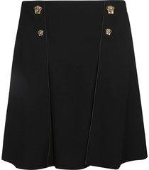 versace medusa head buttoned rear zip skirt