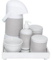 kit higiene espelho completo porcelanas, garrafa e capa branco quarto bebê unissex