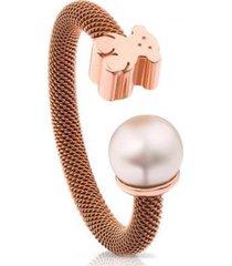 anillo icon mesh acero y plata vermeil rosa con perla tous