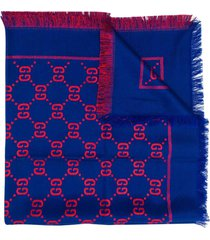 gucci blue and red gg scarf