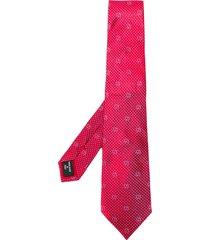 giorgio armani logo pointed tip tie - red