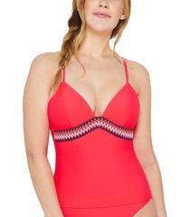 hula honey juniors' zig zag zink tankini top, created for macy's women's swimsuit