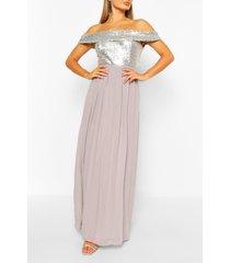 bridesmaid occasion sequin bardot maxi dress, silver