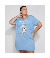 "camisola feminina plus size manga curta welcome to paradise"" snoopy azul"""
