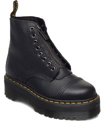sinclair black milled nappa shoes boots ankle boots ankle boot - flat svart dr. martens