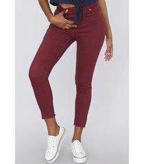 jeans color básico crop  i burdeo  mujer corona