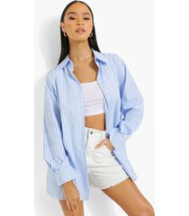gestreepte geweven baggy blouse, blue