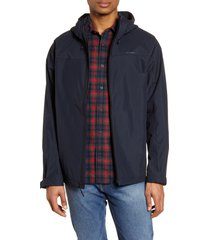 men's filson swiftwater waterproof hooded rain jacket, size large - blue