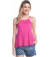 blusa ralm tricot regata renda feminina - feminino
