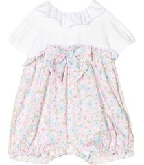 miss blumarine white floreal romper with short sleeve
