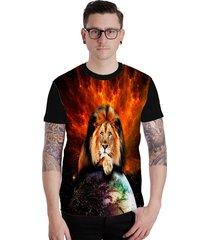 camiseta lucinoze camisetas manga curta lion preta