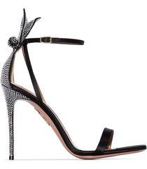 aquazzura bow tie 75mm crystal-embellished sandals - black