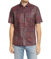 men's tori richard dabu short sleeve button-up shirt, size x-large - brown