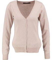 vero moda roze vest met allover zilverdraad