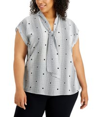 alfani plus size tie-neck blouse, created for macy's