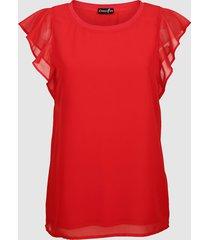 topp med volangärmar dress in röd