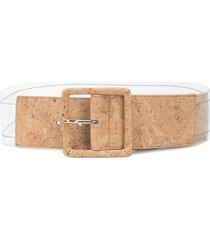 veronica beard transparent-cork buckle belt - neutrals