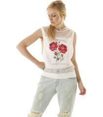 regata em tule com rosas e capuz transparente - off-white - feminino - dafiti