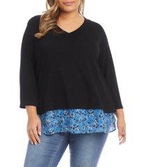 plus size women's karen kane layered v-neck sweater, size 3x - black
