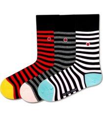simplicity bundle women's 3 pack organic cotton black striped crew socks