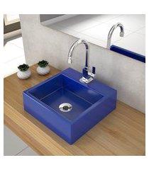 cuba de apoio para banheiro compace q355w quadrada azul escuro