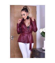 elisha glans jas met riem wijnrood
