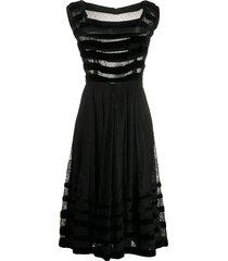 a.n.g.e.l.o. vintage cult 1950s sheer panelled lace dress - black