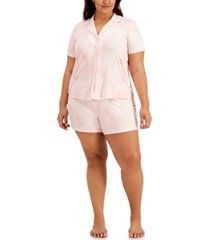 inc plus size printed knit pajama shorts set, created for macy's