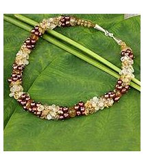 cultured pearl and citrine beaded necklace, 'divine feminine' (thailand)