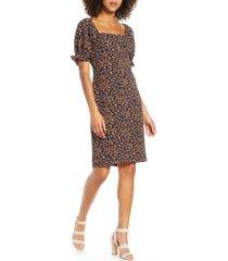 women's chelsea 28 leopard print square neck dress, size xx-large - blue