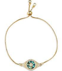 luxe mother-of-pearl & crystal evil eye bracelet