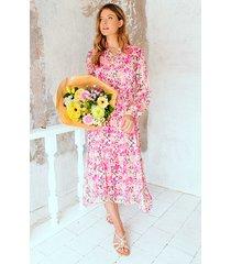 midi plisse jurk floral fuchsia