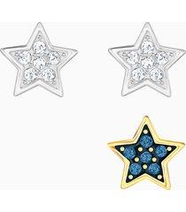 set orecchini a buco crystal wishes star, multicolore, mix di placcature