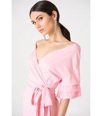 kristin sundberg for na-kd off shoulder overlapped dress - pink