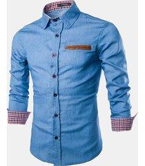 uomo camicia in denim delavé cotone silm fit a maniche lunghe di stile casual formale