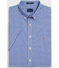 gant overhemd geruit korte mouw button down regular fit blauw