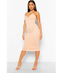 cross front midi dress, nude